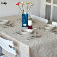 Urijk 1PC High Quality Table Cloth For Restaurant Linen Tablecloth Small White Chrysanthemum Printed Table Cover Wholesale