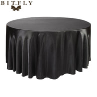 5pcs round Satin Tablecloth Table Cloth Cover Wedding birthday party Christmas Banquet hotel Restaurant diy Decoration black