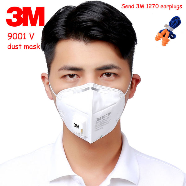 3M 9001V respirator dust mask With a breathing valve respirator mask against Dust particles Fiber dust respirator mask