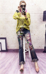 New Station 2017 Beauty Lady Oil Painting Tassel Cuff Elegant Eye Attractive Female Winter Lady Jeans