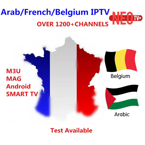 Best Arabic French NEO IPTV for 1 year with 1200+ channel TV&VOD For Belgium Morocco iptv smart tv Android Enigma M3U MAG tv box