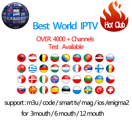 IPTV Subscription Android TV Box +Europe Sweden Arabic French Italy Germany  UK Hotclub Adult xxx M3U Enigma2 Smart TV Mag tv box