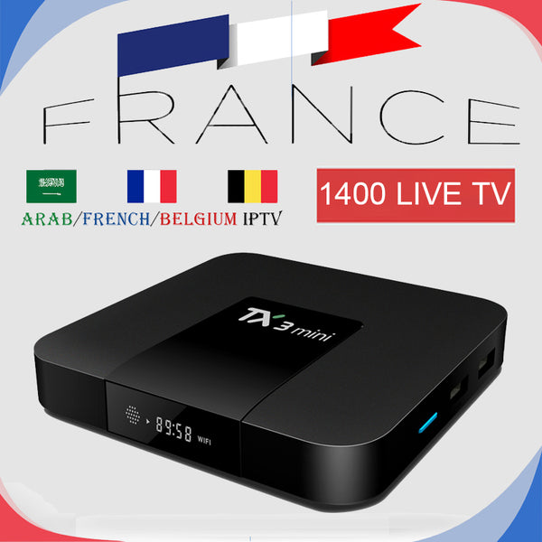 France IPTV TX3Mini Android TV Box 7.1 With 1200+ Channels Arabic European Live IPTV Channels VOD Support 4K Smart TV Mag 25X