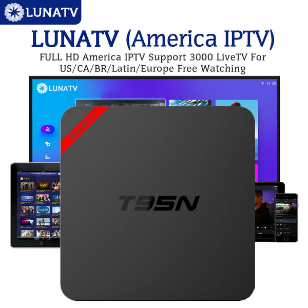Android T95N 1G8G Smart box set top box 6.0 TV Box with 1 Year LUNATV US Canada brazil Latin IPTV 3500 Live Channels