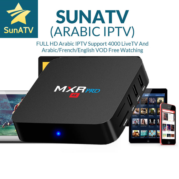 SUNATV IPTV With 1 Year MXR PRO Smart TV  Italy IPTV  Box  4G/32G 4000Channels France Arab Bulgaria Sweden USA Canada Set-top