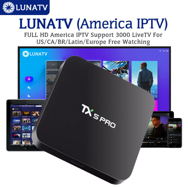 TX5PRO With 1 Year LUNATV US Canada brazil Latin IPTV Smart IPTV Set Top Box Android TV Box 2/16G Quad Core Media Player