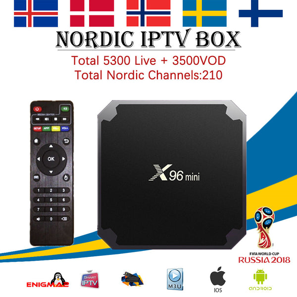 Sweden IPTV X96 mini Android 7.1 Smart TV BOX 5000+ channels Nordic Norway Scandinavia Israel Arabic Canada Brazil set top box