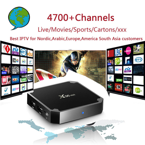 Nordic IPTV X96mini 4k Android 7.1 TV Box with 4700+ PRO IPTV Europe Arabic Isreal  Sweden USA Canada PayTV Smart Set top Box