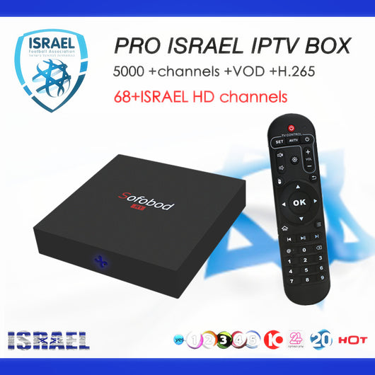 Sofobod Israel Android tv box android 7 1 with PRO iptv 5000+live  channels+vod France Sweden Canada USA Set top smart tv box