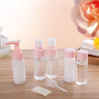 Pink 7PCS Portable Travel Storage Bottles Set Cosmetics Makeup Organizer Lotion Cream Dispenser Spray Package Bottles Jar