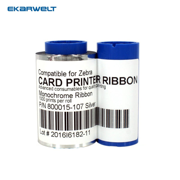 800015-107 Sliver Monochrome Ribbon For Zebra iSeries ID Card Printer 1000 Prints P310i P430i P330i p420i p520i