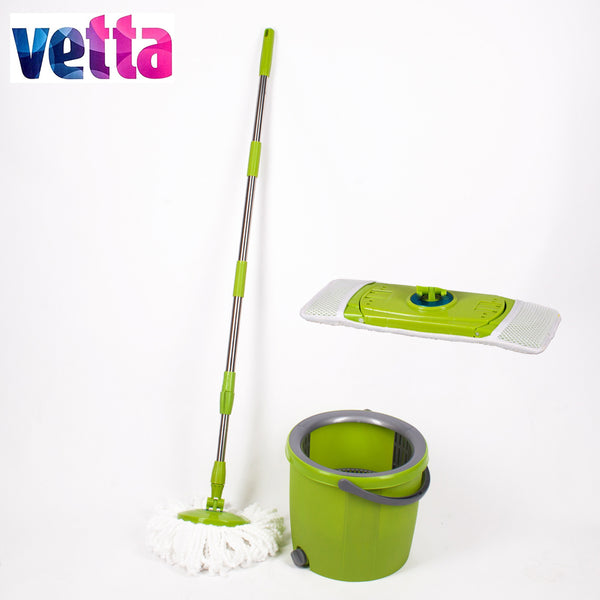 VETTA Mop with bucket and two different mopheads magic mops floor cleaning high quality green spin broom WYL-30-2; 993-033