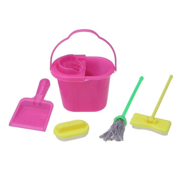 5Pcs/set Plastic Baby Cleaning Tools Doll Accessories Replica Mop Broom Bucket Dollhouse Articles Barbie Playing House Toys