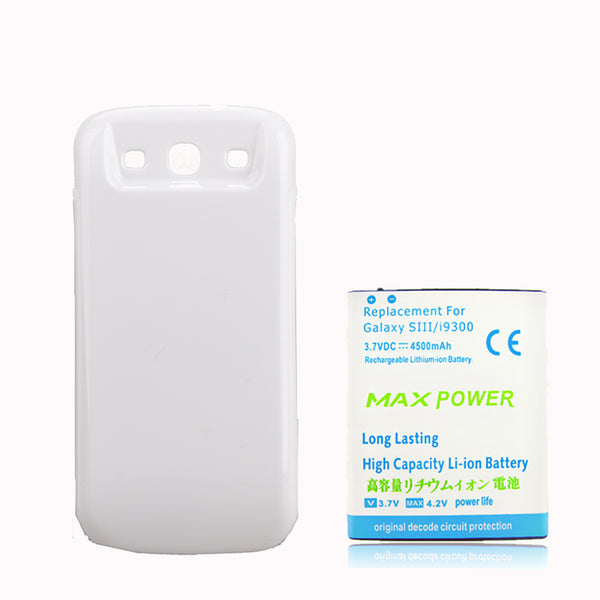 4500mAh Thicker Replacement Batterie White Back Cover For Samsung Galaxy S3 SIII i9300 S 3 III battery