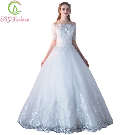 cdf2d62e71 SSYFashion New Luxury Wedding Dress The Bride Married Boat Neck Short  Sleeves Sweet Lace Flower A-line Floor-length Wedding Gown