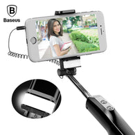Baseus Wired Selfie Stick For iPhone With Beauty-Skin Fill Light Rear Mirror Extendable Self Stick 3.5mm Jack For Samsung Huawei