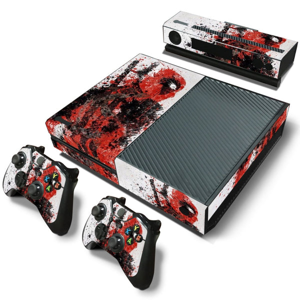 Dead Pool PVC Skin Sticker For Xbox One Console + 2 Pcs Controller Skin + Kinect Skin Sticker Set