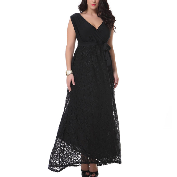 Women Elegant Lace Dress One-piece Long Dress V-neck Sleeveless Slim Summer Dress Party Dress