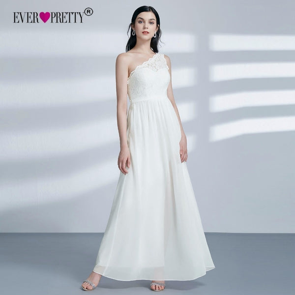 Boho Wedding Dress 2018 Ever Pretty EP07362CR New Elegant A Line One Shoulder Lace Chiffon Bridal Gown With Slit Robe De Mariage