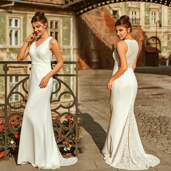 Ever Pretty Robe De Mariee New Elegant A Line V Neck Sleeveless Lace Wedding Dresses Sweep Train Simple Bridal Gowns EP07385CR