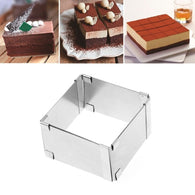 15-27.5CM Adjustable Stainless Steel Cake Square Mold Chocolate Mousse Ring Baking Accessories Cake Decorating Tools