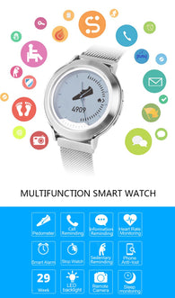 Smart Watch LCD Screen NRF51822 CPU BT 4.0 Fitness Tracker Pedometer Stopwatch Heart Rate Monitoring Smart Wristwatch for iOS 7.0 & Android 4.3