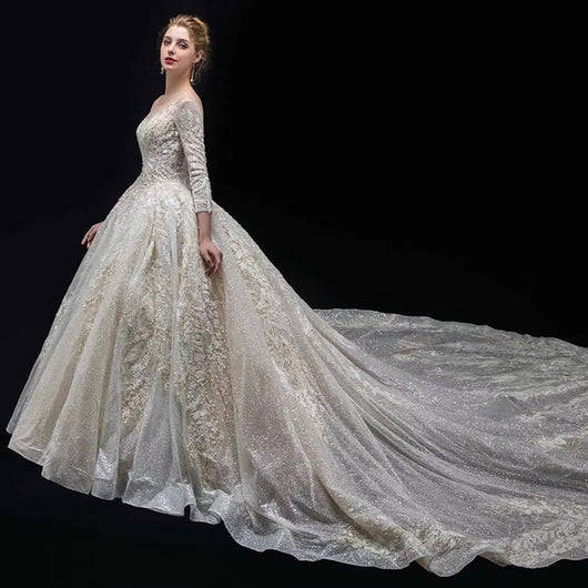 a55298e7087c SSYFashion New Luxury Wedding Dress High-end Lace Appliques Sequins Be