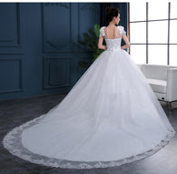 Cheap 2018 New Fashion Luxury High-end sleeved Wedding Dresses 2018 With lace Beads Fashion Bridal Gown Vestidos De Noiva