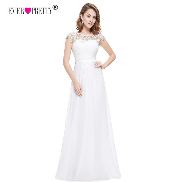 Vestido De Noiva Ever Pretty Plus Size Elegant Beautiful Lace Appliques Chiffon White Bride Gowns For Women Wedding Dress 2018
