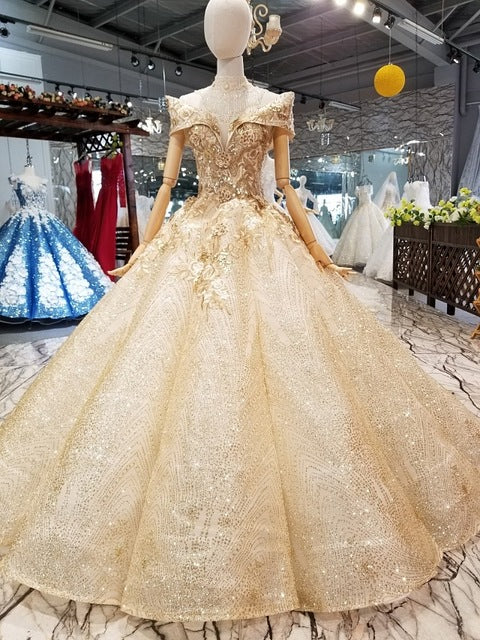 c70134c6461ef SSYFashion New High-end Wedding Dress Vingate Luxury Glold Shining Lace  Appliques Beading Long Formal Prom Gown Robe De Soiree