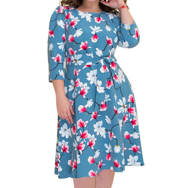 Quality 6XL Plus Size Spring Summer Dress Women A Line Slim Flower Print Dresses Elegant Party Work Office Dress Belt Blue Red