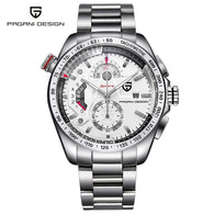 PAGANI Men Luxury Brand Watch, Silver Stainless Steel Analog Quartz Chronograph Wrist Watch, Watch for Men