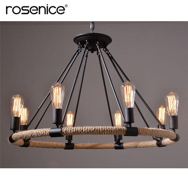 Village Retro 8-Light Pendant Lamp Metal Hemp Rope Pendant Lights for Cafe Restaurant Bar Bookstore Bar Tools