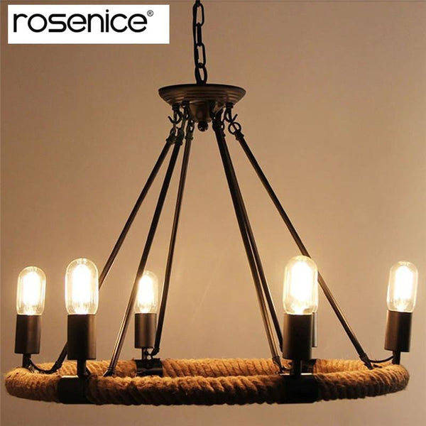 Retro 6-Light Pendant Lamp Metal Hemp Rope Pendant Lights for Cafe Restaurant Bar Bookstore Bar Tools