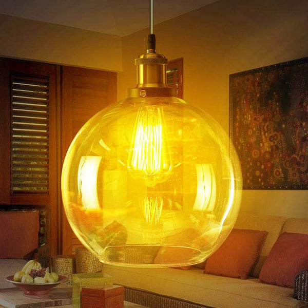 LED Pendant Light Clear Glass Global Lampshade Crystal Globe Ball Lighting Restaurant Hotel Bar Ceiling Suspension Lamp