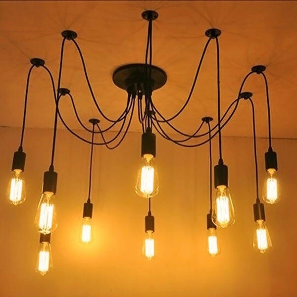 E27 Retro Pendant Lights Vintage Ceiling Lamps 1Head 3Heads 8Heads For Cafe Restaurant Bar 110-220V 831F