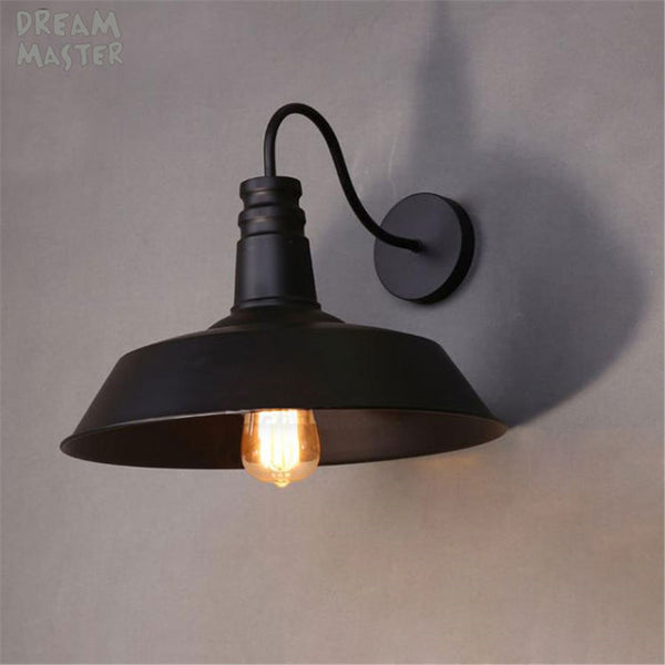 Vintage gooseneck wall light iron black lampshade E27 110V 220V wall lamp Edison bulb sonces for decor goose neck luminarias