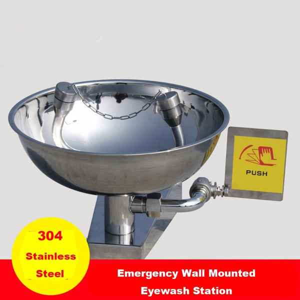 304 Stainless Steel Emergency Wall Mounted Eye wash face wash Station Double mouth