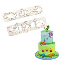 2 Pcs Dinosaur Shape Fondant Cake Plastic Mold Biscuits Cookie Molds Embossed Candy Mould Baking Cake Decoration Tools Kitchen