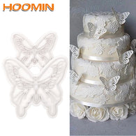 HOOMIN Cookie Plunger Cutter 2 pcs/set Food-Grade Plastic  Butterfly Shape Cake Mold 2 Sizes Fondant Decorating Tool