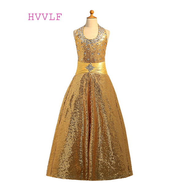 Gold 2019 Girls Pageant Dresses For Weddings Ball Gown Halter Sequins Crystals Flower Girl Dresses For Little Girls