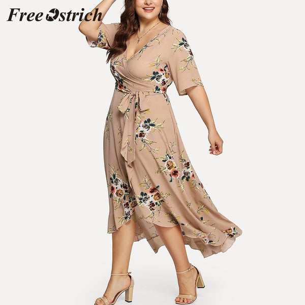 Free Ostrich 2019 Plus Size Women Casual Short Sleeve V-neck Boho Flower Bohemian Party Maxi Dress Big Size For Women Hot Sales