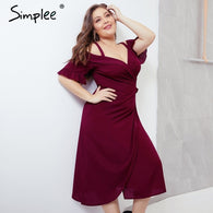 Simplee Sexy cold shoulder women plus size dress V neck short sleeve sashes summer dresses Vintage solid female party vestidos