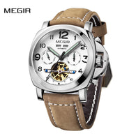 MEGIR Luminous Self-winding Mechanical Watch 3 ATM Water Resistant Genuine Leather Watchband Fashion Analog Man Wristwatch with Date Month Weeks Displayed