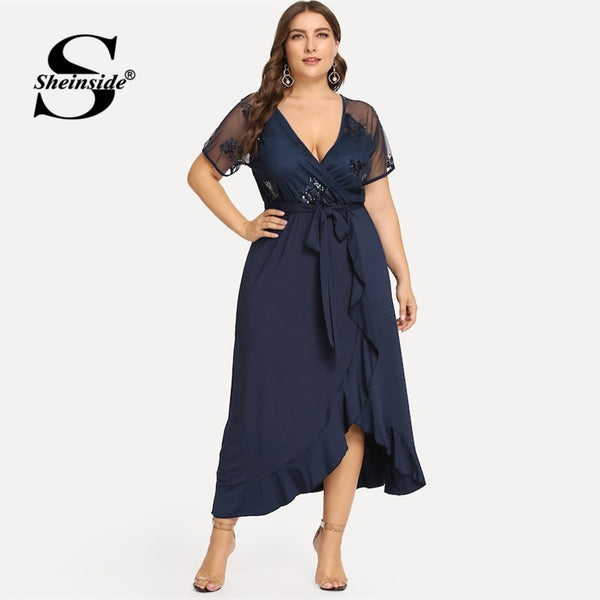 Sheinside Plus Size Sexy Deep V Neck Sequin Mesh Wrap Party Dress Women Summer A Line Dresses 2019 High Waist Ruffle Hem Dress