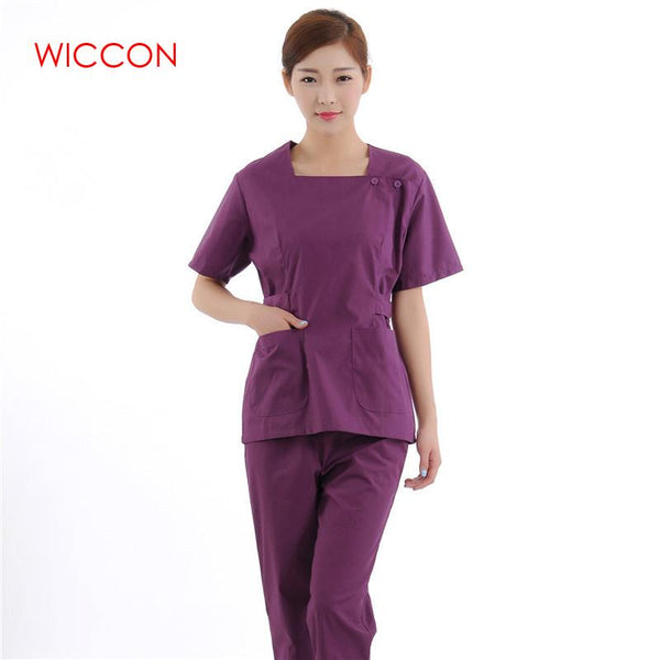 2019 new short Sleeve Round neck women Medical Split suit Uniform Medical Lab Coat Hospital Doctor Slim coat+pants sets