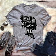 God is within her she will not fail. Psalm Bible verse tee Christian top graphic women fashion casual cotton slogan goth t shirt
