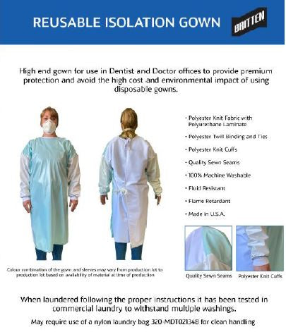 Reusable Isolation Gowns Each. CURBSIDE PICK UP AVAILABLE