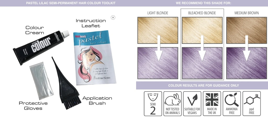 At-home pastel purple hair colouring kit