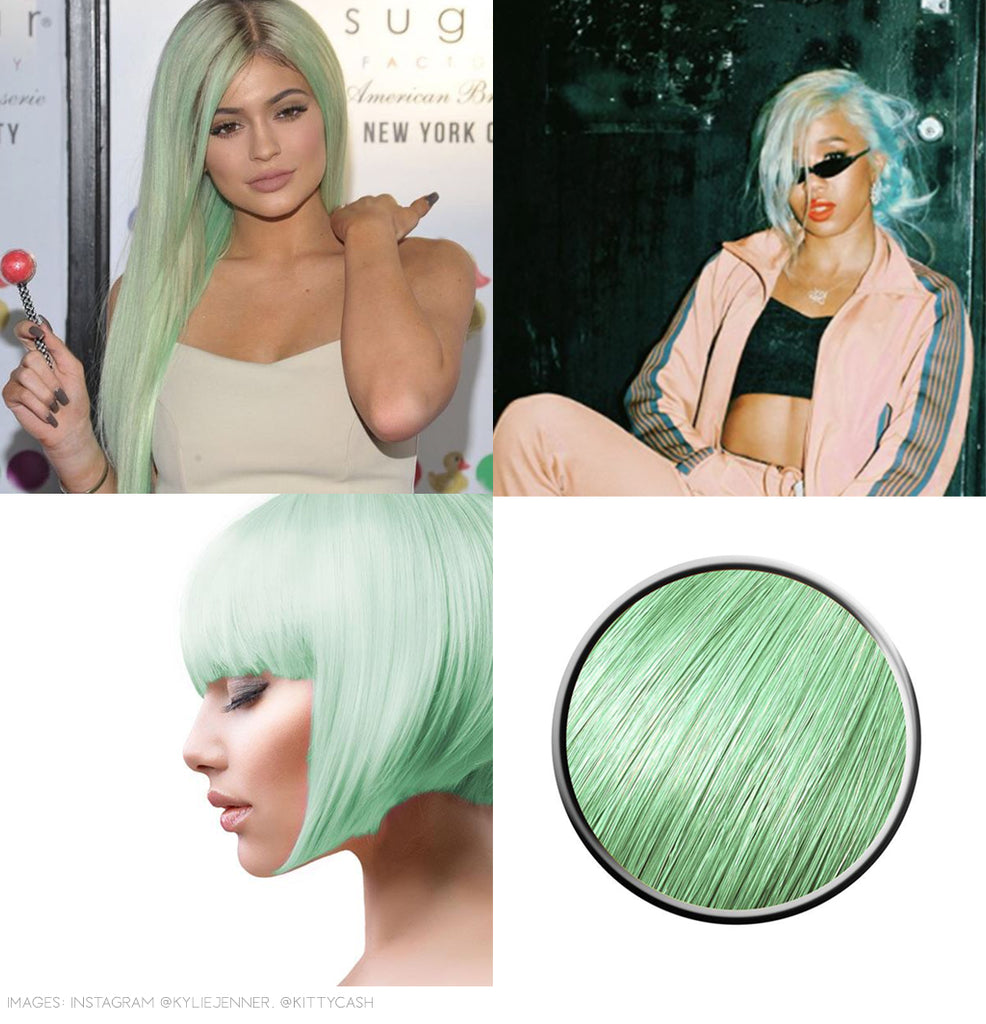 Peppermint green hair colour